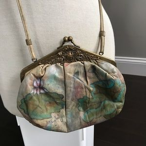 Leather hand painted purse
